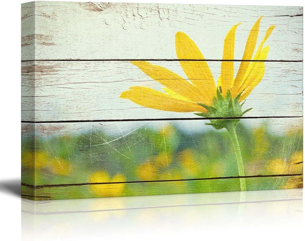 Classic Design, Grand Technique, Bright Yellow Flower on Farm Rustic Floral Arrangements Pastels Colorful Beautiful Wood Grain Antique