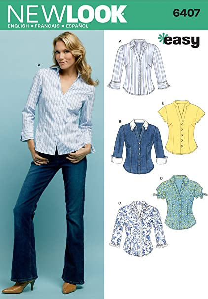 Amazon New Look Sewing Pattern 6407 Misses Tops Size A 10 12