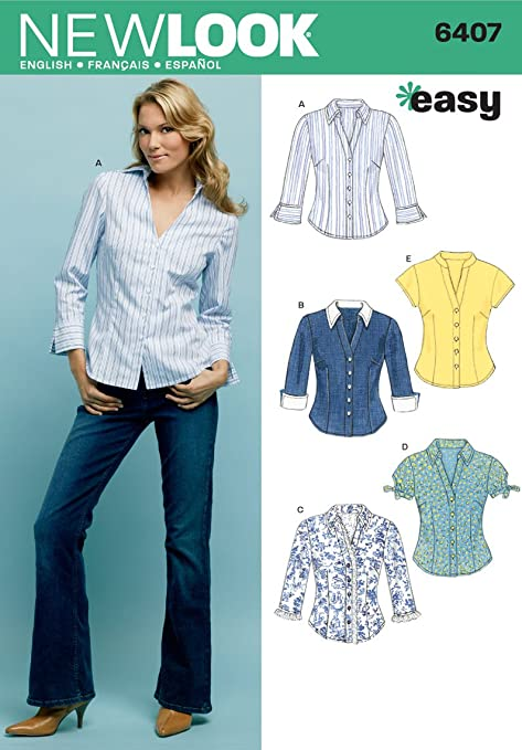 New Look 6407 Size A Misses\' Tops Sewing Pattern, Multi-Colour ...