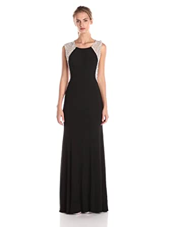 Xscape Womens Cap Sleeve Beaded Back Gown, Black, ...