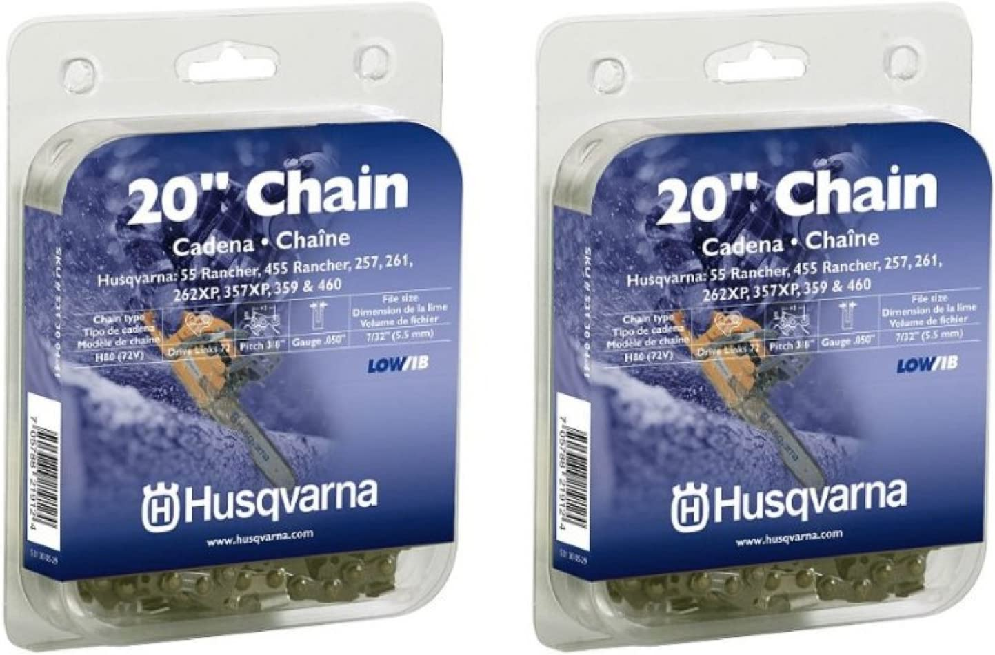 "2 Pack OEM Husqvarna 531300622 20/"" Saw ChainH46 72DL 3//8/"" .050"