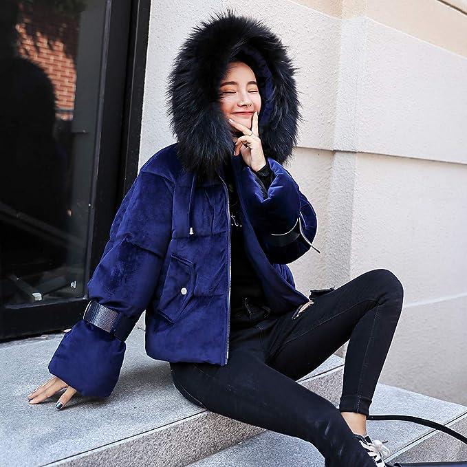 Beladla abrigo Mujer Invierno Plumas SeñOras Cuello De Piel Grande Delgada Slim Espesar Down Abrigo Capa De La Chaqueta De PlumóN Jersey Outerwear: ...