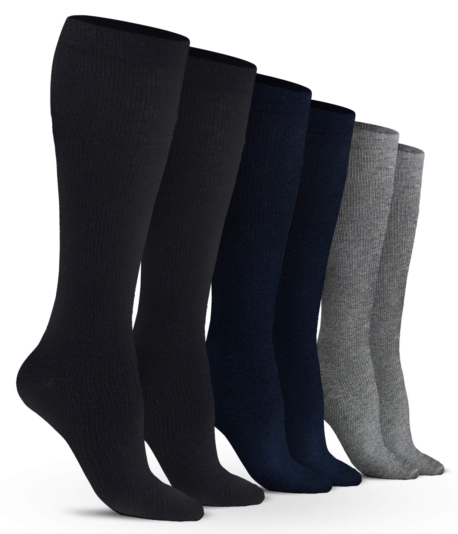 Women's Compression Socks (6 Pack) - S/M - Black, Gray, Navy - Graduated Muscle Support, Relief and Recovery. Great for Running, Medical, Athletic, Diabetic, Travel, Pregnancy, Nursing (8-15 mmHg)