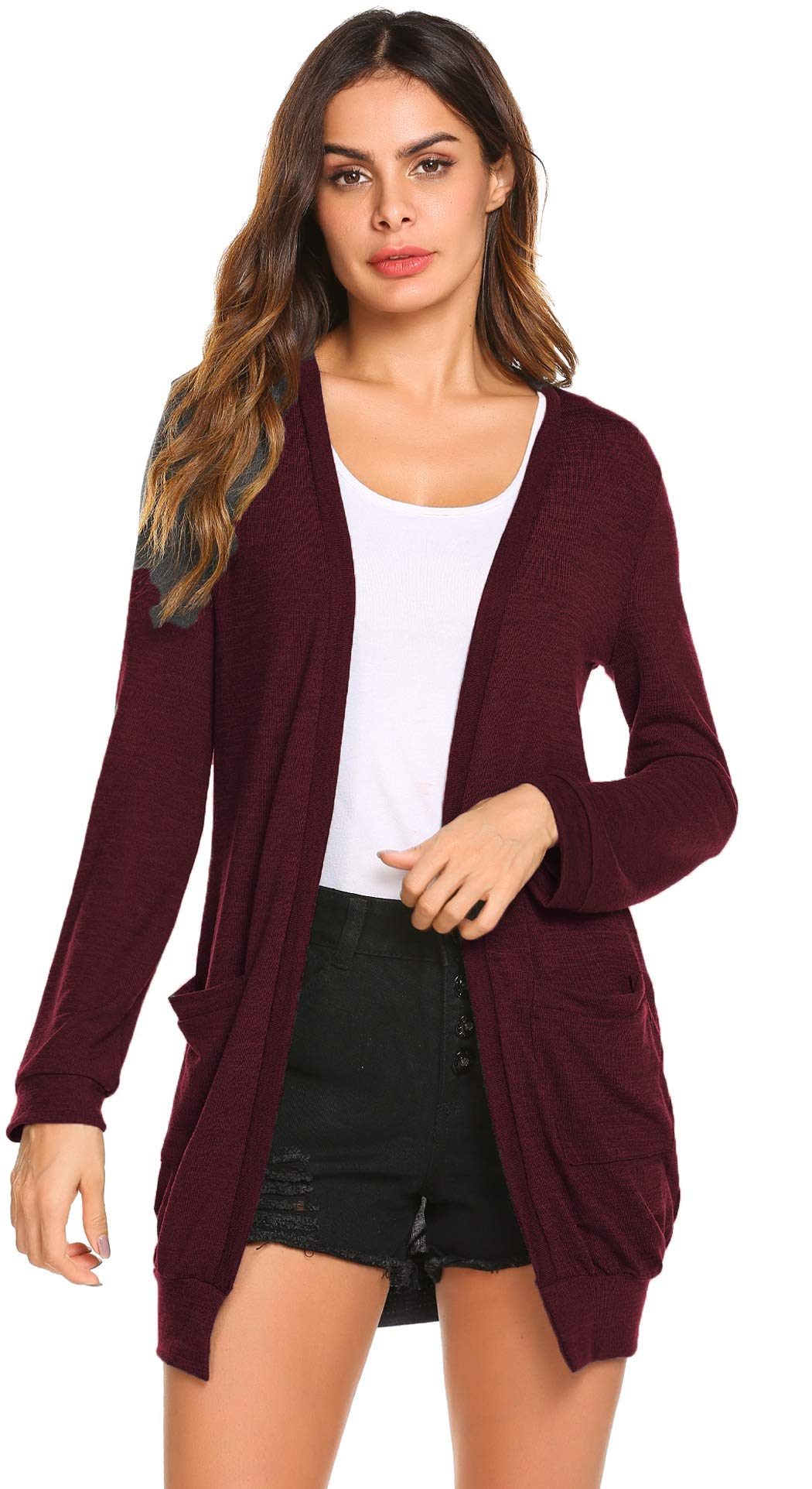 SimpleFun Womens Lightweight Open Front Knitted Cardigans Long Drape Knit Sweaters with Pockets (Wine Red,L)