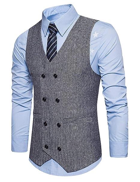 new style cfd9b b16b0 STTLZMC Panciotto Gilet uomo slim fit casual elegante Smanicato Matrimonio  Classico lana tweed gilet(Niente Camicia)
