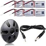 Keenstone 6個3.7V 400mAh 25C Lipo Hubsan X4 (H107 H107C H107D H107L) JJRC H22 H6D Syma X11 X11C V252 JXD385 F180Cバッテリー及び6ポートバッテリー充電器付き「過充電保護機能付き」「1年保証期間」