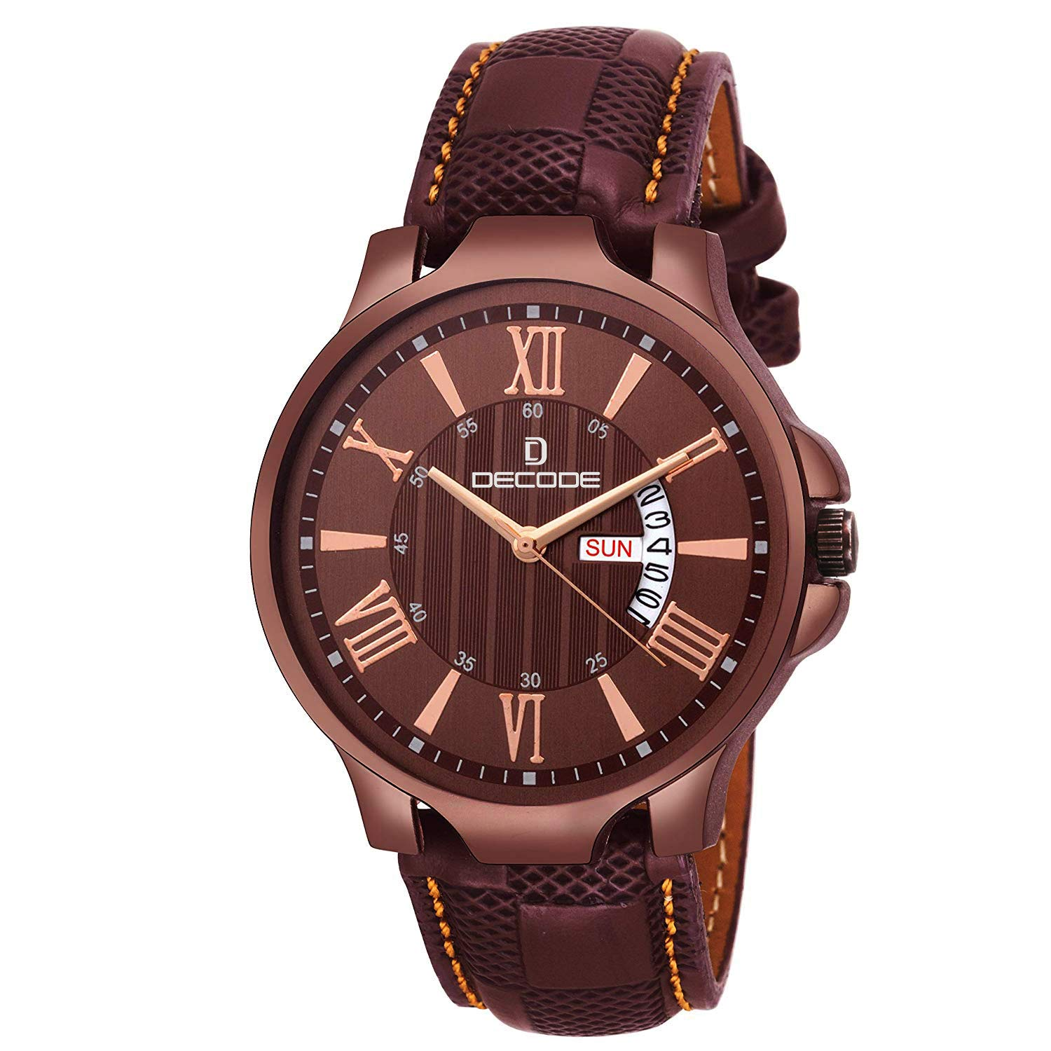 Decode DC1877 Coffee Day Date Matrix Collection Leather Strap Wrist Watch  for Men