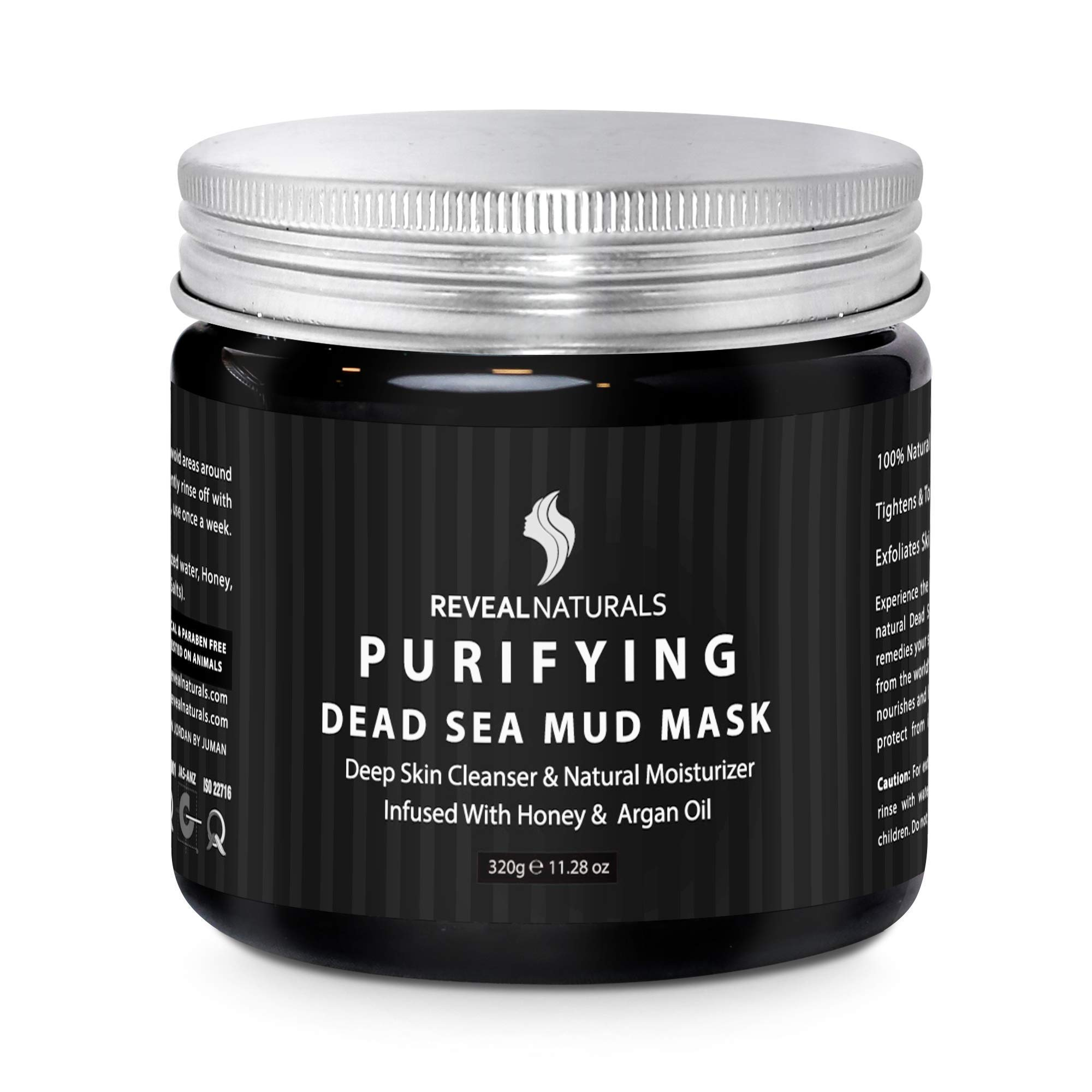 Face & Body Purifying Dead Sea Mineral Mud Mask by Reveal Naturals -Gentle Honey & Argan Oil Mud Mask,Natural Pure Cleansing Pore Minimizer and Skin Detox for Acne, Blackheads, Eczema - 10.6 Ounces