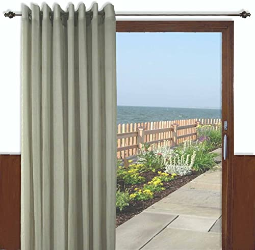 Ricardo Trading Bal Harbor Textured Semi-Sheer Grommet Patio Panel with Pull Wand, 106 by 84-Inch, Sage