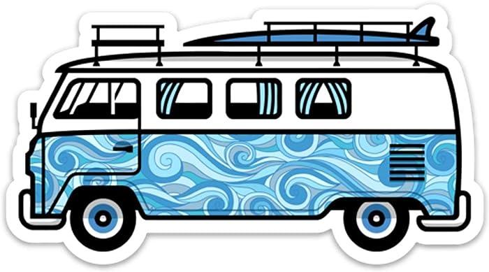 "Stickeroonie Classic Aloha Volkswagen Surf Van Vinyl Sticker, Cool Water Resistant Sticker, 4"" x 2.7"" Size"