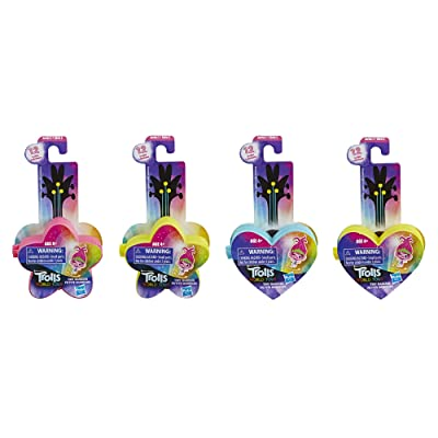 DREAMWORKS TROLLS World Tour Tiny Dancers Surprise 4-Pack Series 1, Tiny Dancers Dolls, Clips, Rings, and Glasses, Toy for Kids 4 and Up (E9133): Toys & Games
