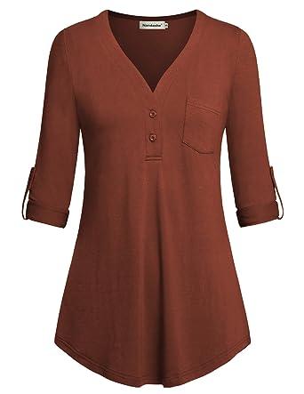 e234e5acbb0a28 Amazon.com  Nandashe Women Split V-Neck 3 4 Roll-Up Sleeve Button ...