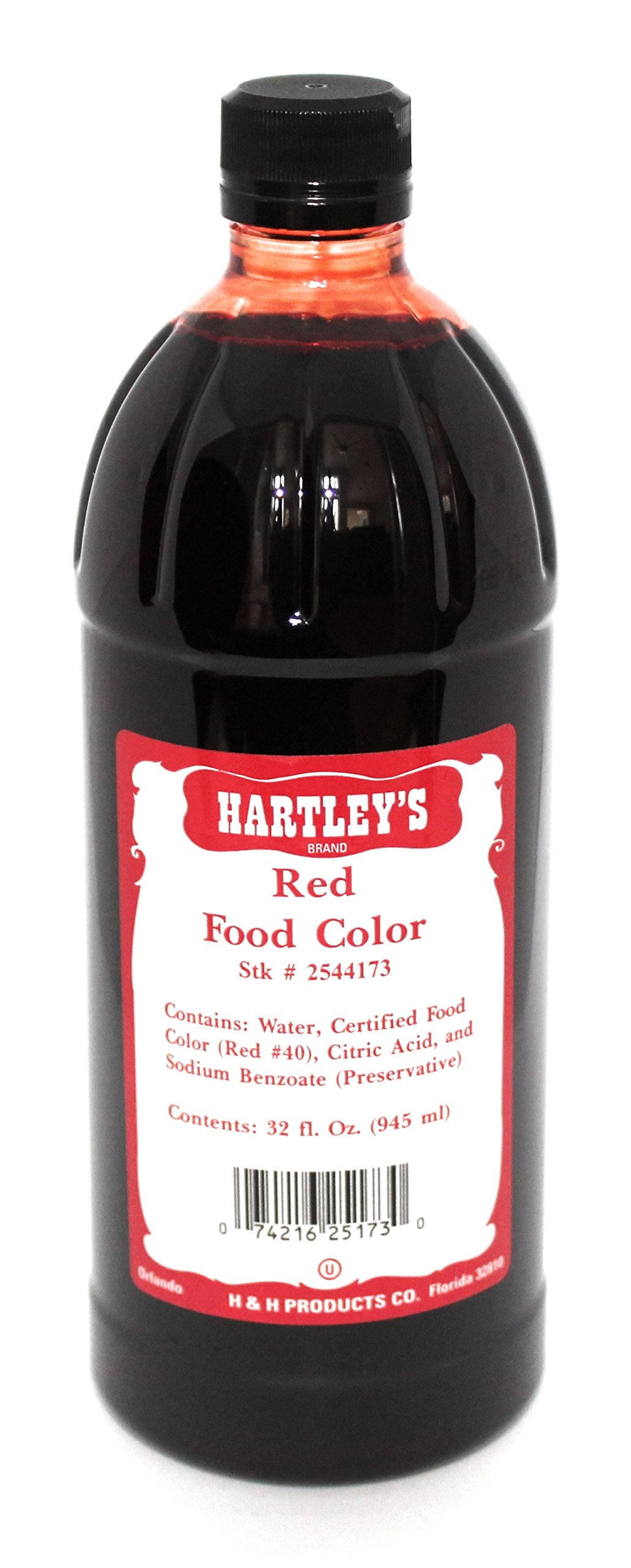 Hartleys Red Food Coloring Commercial Grade Professional Kitchen Liquid Color 32 Oz ✡ OU Kosher