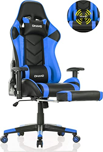 OHAHO Gaming Chair Racing Style Office Chair Adjustable Massage Lumbar Cushion Swivel Rocker Recliner Leather High Back Ergonomic Computer Desk Chair with Retractable Arms and Footrest Black Blue