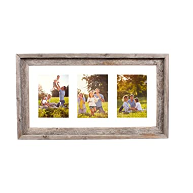 BarnwoodUSA Multi Opening Mat with 100% Up-cycled Reclaimed Wood Frame (3-5x7, White)
