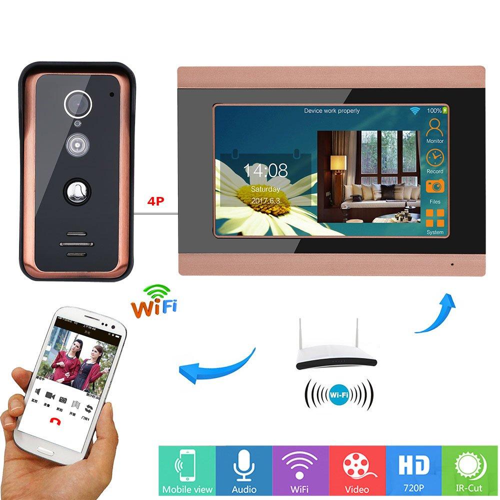 TONGTONG Smart Doorbell,7 Zoll WiROT WiFi Video Door Telefon Doorbell Intercom Einreisesystem Support Remote APP-Intercom Snapshot für Familienvillen geeignet