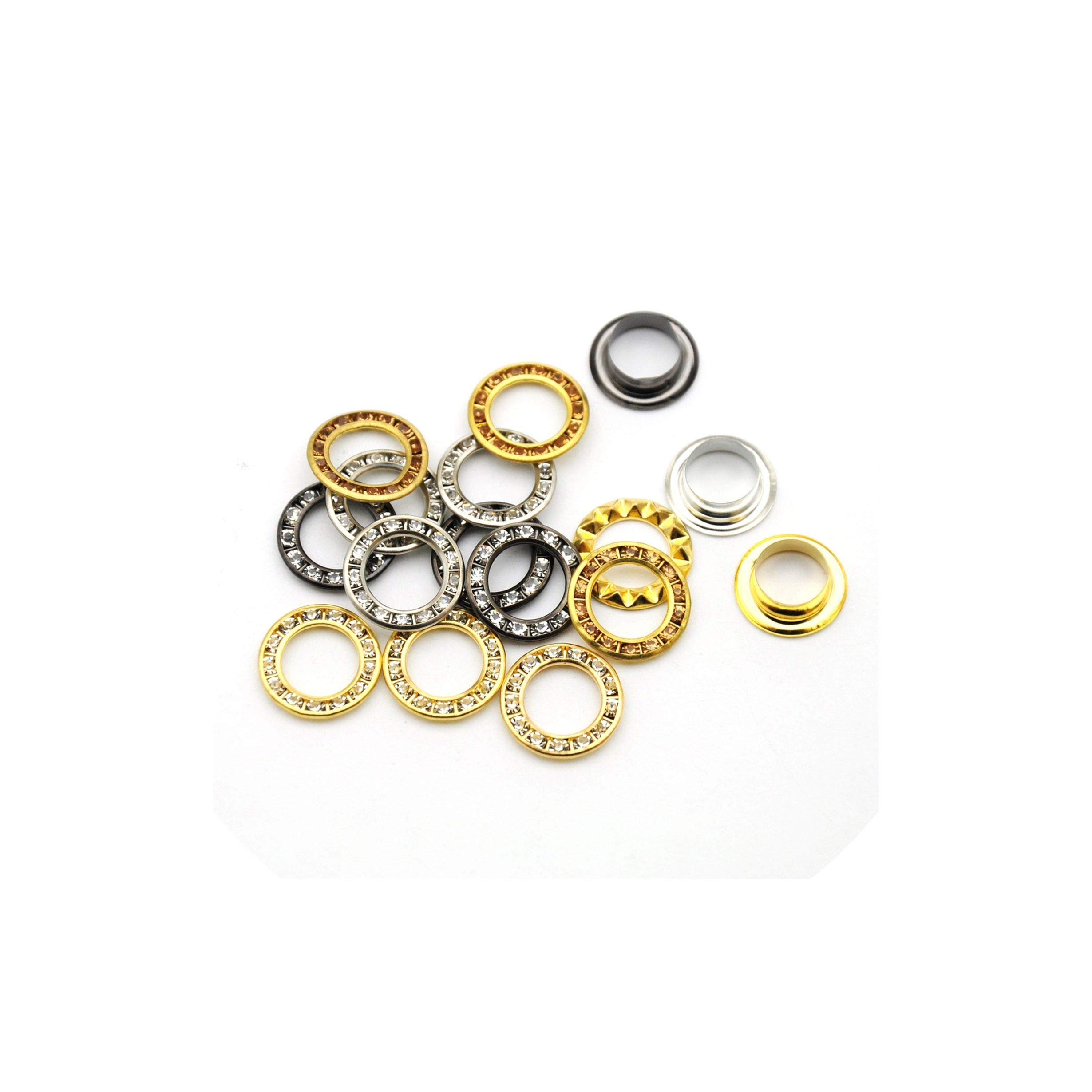 100Sets 15Mm Round Metal Brass Rhinestone Eyelets Crystal Grommets Shoe Christmas Decoration,1250Sets