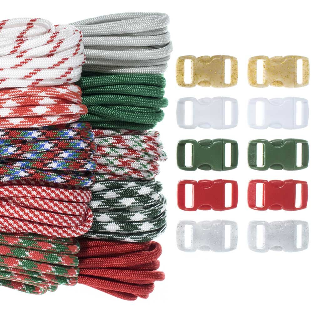 Craft County 100 Foot 550 Paracord Crafting Kits - for All Ages and Skill Levels - Create Paracord Bracelet, Lanyard, Keychain Projects (Christmas)