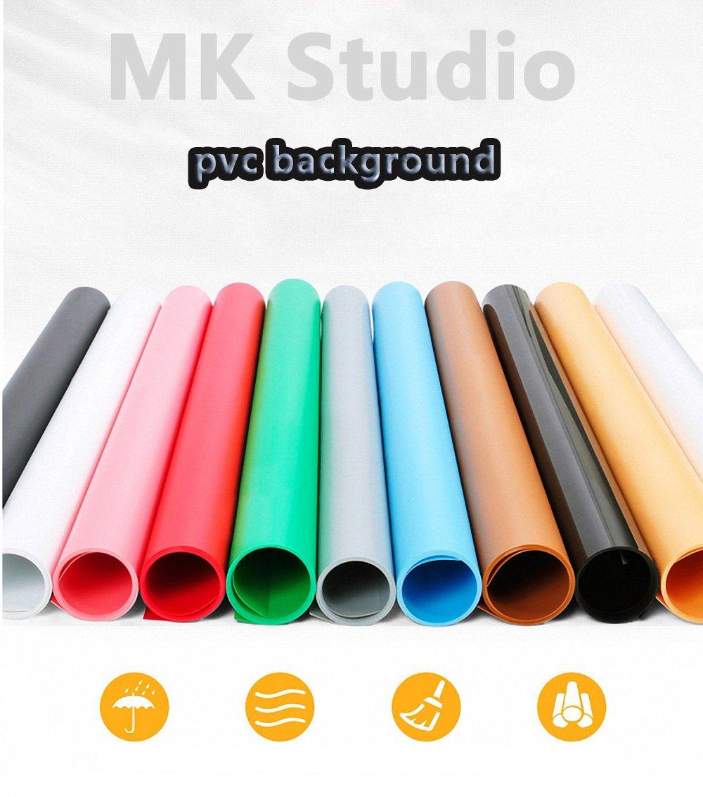 Meking Photography Studio Photo Waterproof Backdrop Matte PVC Background Set White+Black+Gray+Blue+Green,16x26 Inch