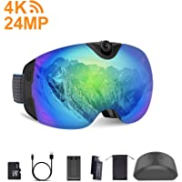 OhO Anti-Fog Snowboard 4K WiFi and 24MP Ski Goggles with UV400 Protection Dual Ski Lens (S6 Model)