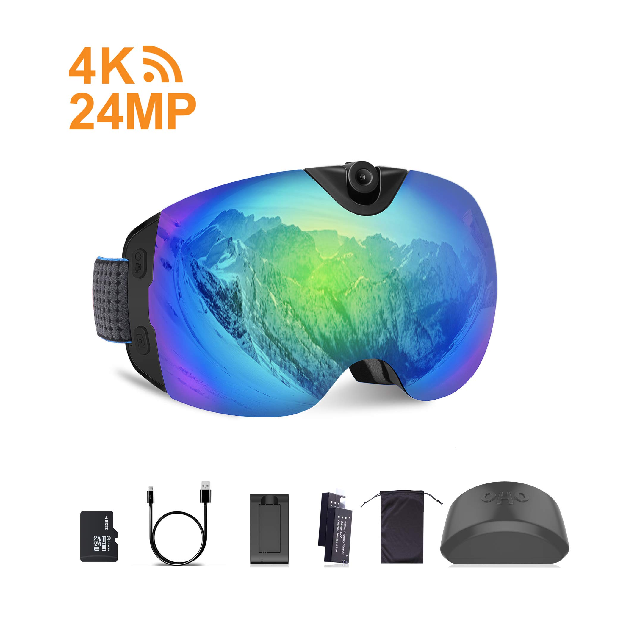 OhO 4K WiFi Ultra HD Action Camera Ski Goggles with 24MP and 140 Degree Adjusted Camera Angle Up and Down, Low Temperature Working Battery, Anti Fog and UV400 Protection Ski Lens with 32GB Memory by OhO sunshine