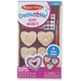 Melissa & Doug Created by Me! Wooden Heart Magnets Craft Kit (4 Designs, 4 Paints, Stickers, Glitter Glue)