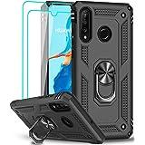 LeYi Funda para Huawei P30 Lite / P30 Lite New Edition Case con [2-Unidades] Cristal Templado, 360 Ring Soporte Magnetic Armo