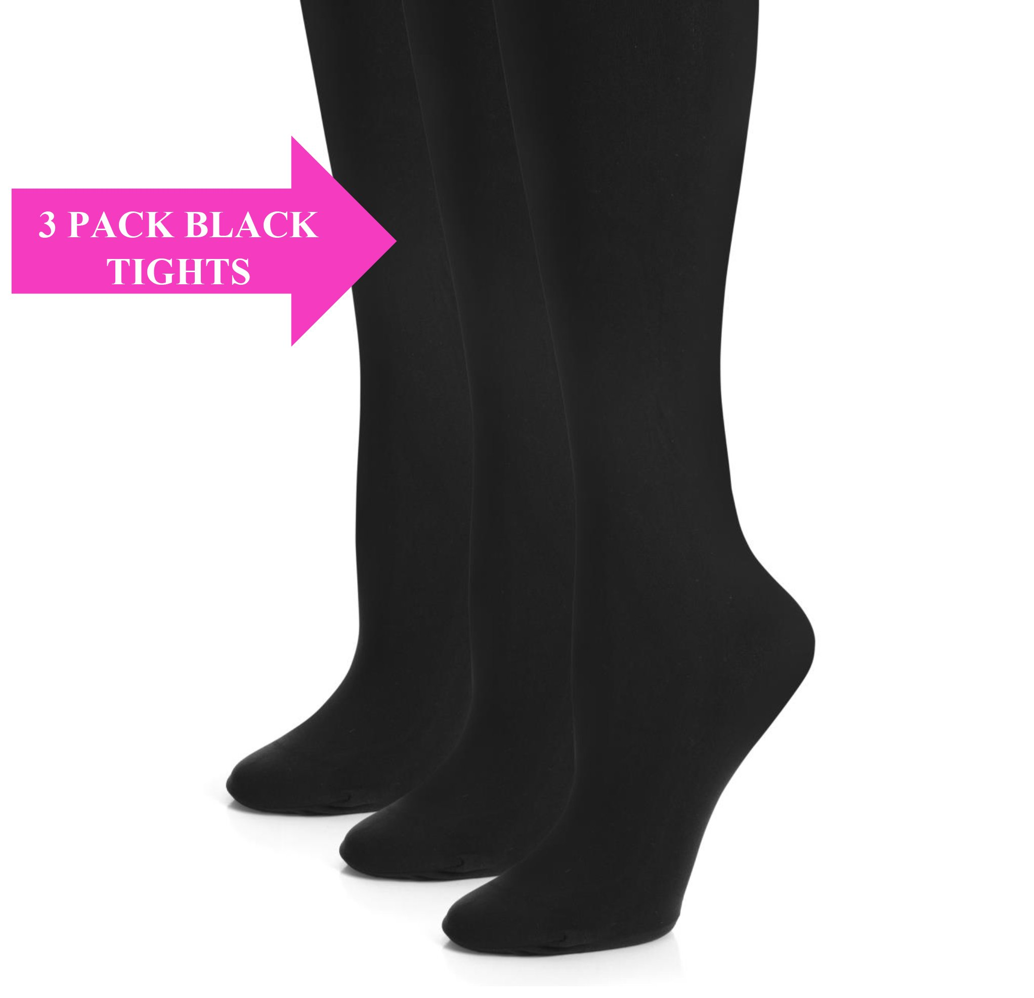 Girls Black Tights - Kids Opaque Tights - 3 Pack Microfiber Stockings - School and Uniform Tights - by Topfit (Black, 3pk, size B)