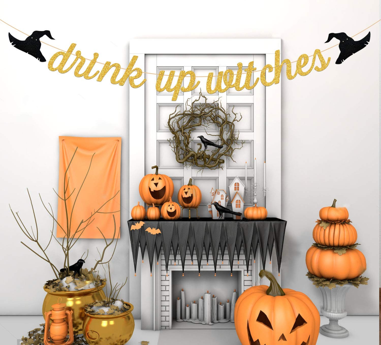 Gold Glittery Drink Up Witches Banner Halloween Theme Party Decorations,Halloween Party Supplies,Mantle Home Decor,Yard Decor