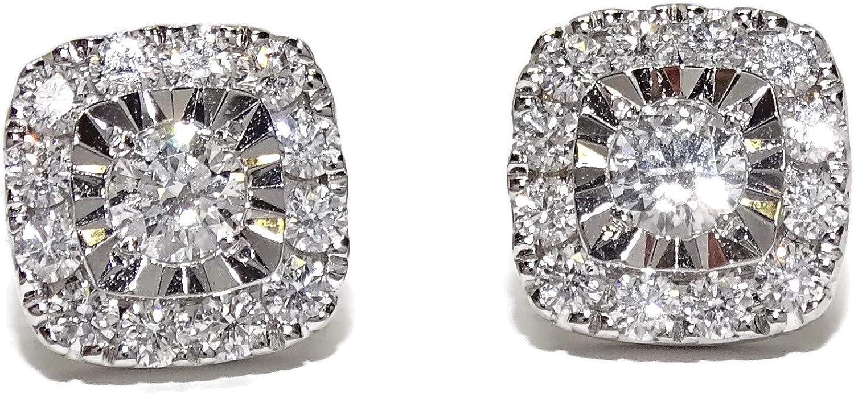 Espectaculares Pendientes de oro blanco de 18k con 0.97cts de diamantes, 9mm por 9mm con cierre presion.