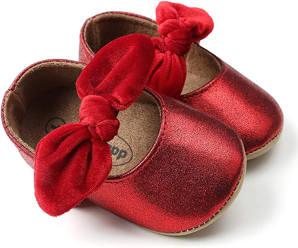 Tutoo Baby Boy Girl Mary Jane Flats Shoes Summer Flower Bow Knot Dress Infant First Walkers Sandals 3-6 Months Infant, A03-red