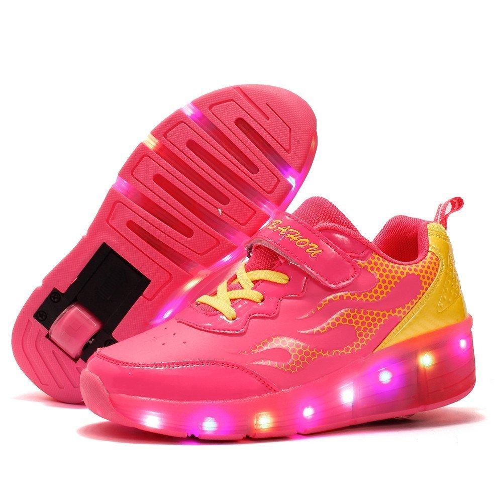 Believed Girls Boys Glint Light Up Shoes Kids LED Single Wheels Roller Shoes Skates Sneakers