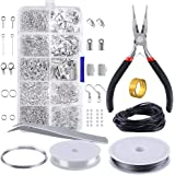 OPount Jewelry Findings Set Jewelry Making Kit Jewelry Findings Starter Kit Jewelry Beading Making and Repair Tools Kit Pliers Silver Beads Wire Starter Tool