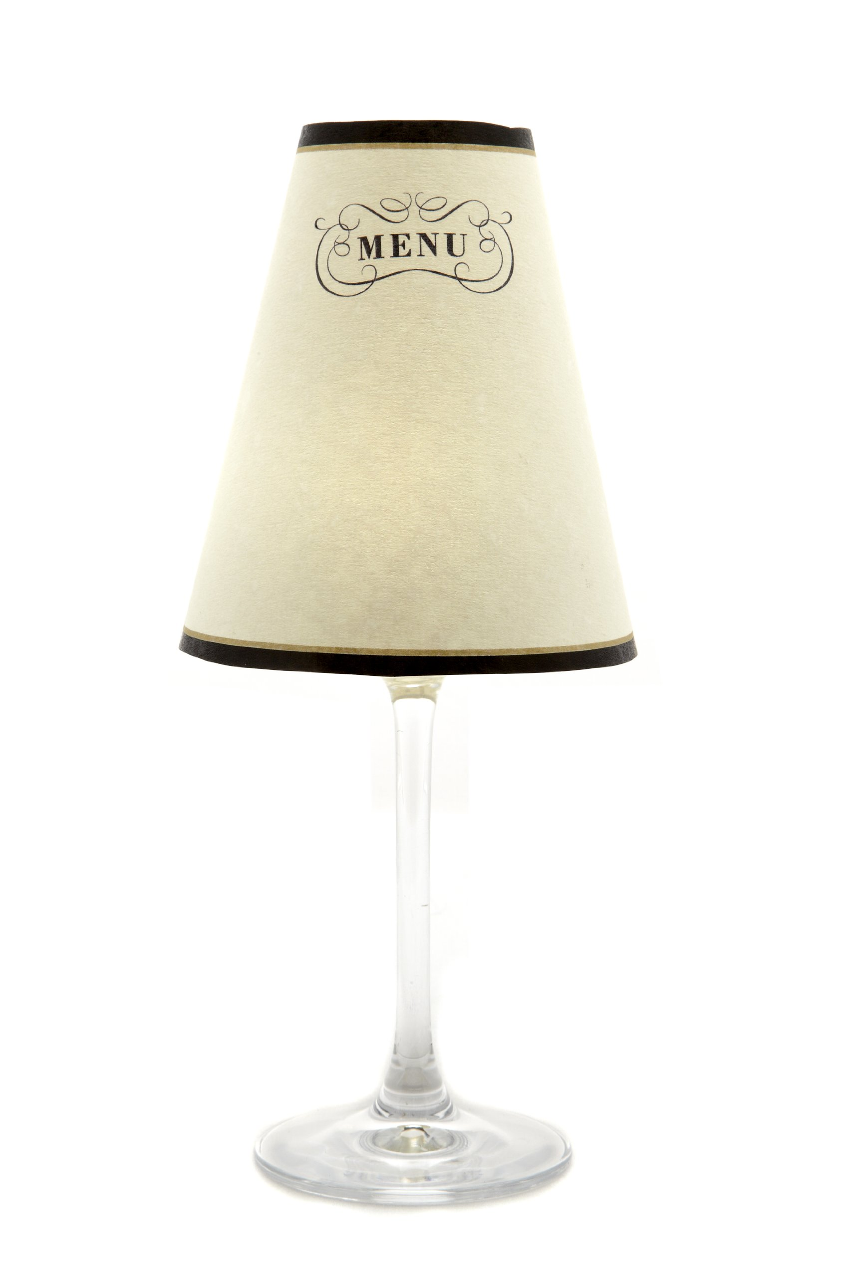 di Potter WS109 Paris Menu Paper White Wine Glass Shade, Parchment (Pack of 6)