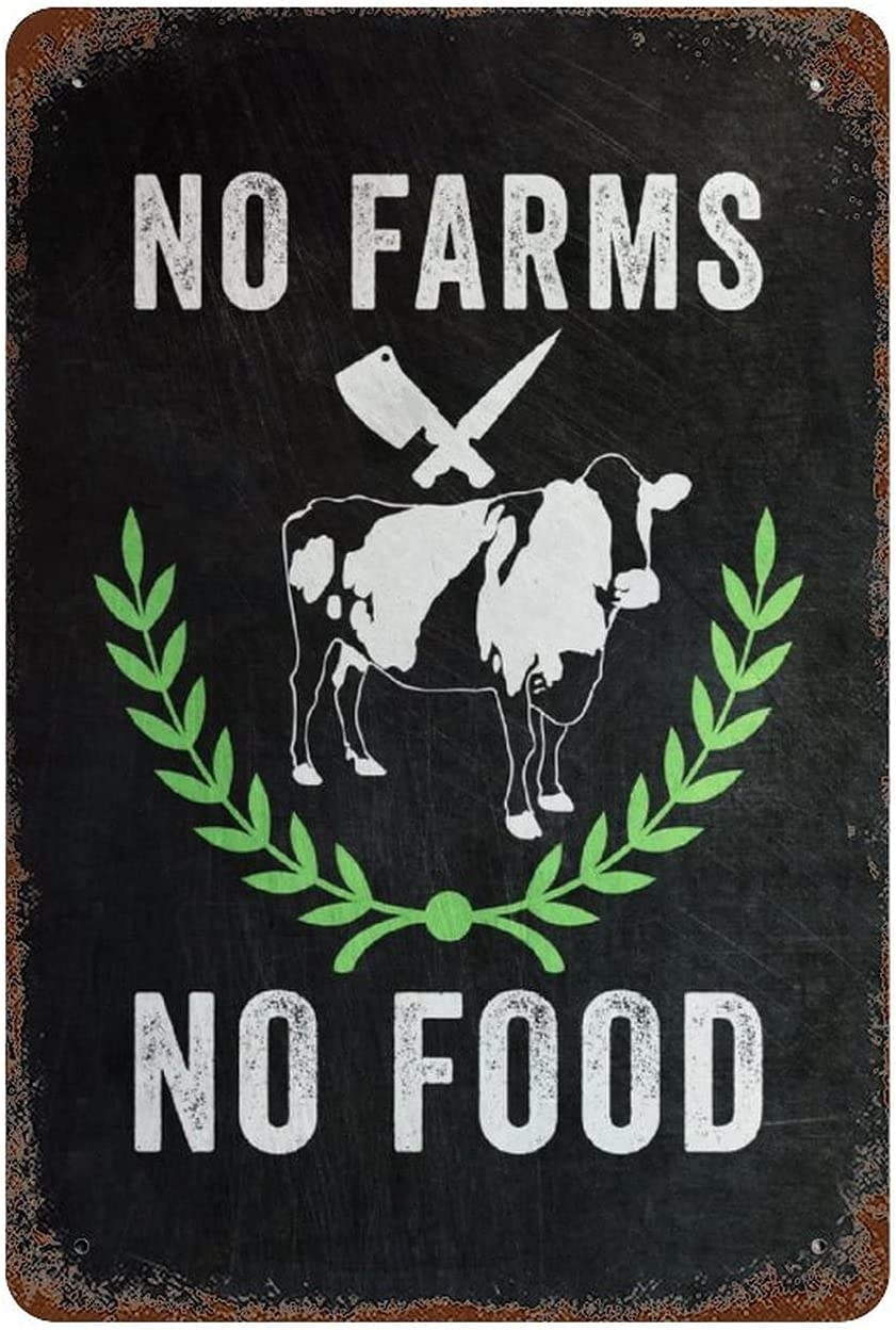 Retro Metal Sign Wrought Iron Hanging Picture Farmhouse Decor Metal Signs Poster No Farms No Food Sign Vintage Metal Shop Sign for Kitchen Home Diner Bar Pub Coffee Retro Art Sign W8xH12 Inch