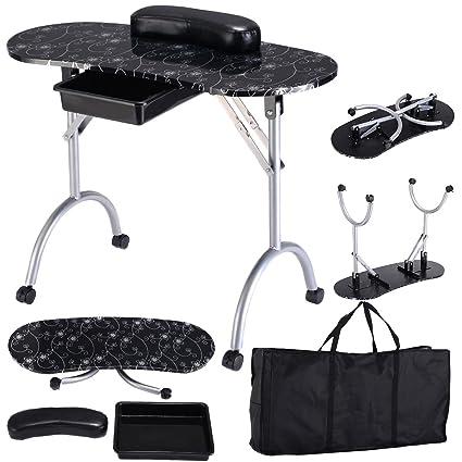Mesa de manicura plegable portátil uñas cosmética mesa de trabajo ...