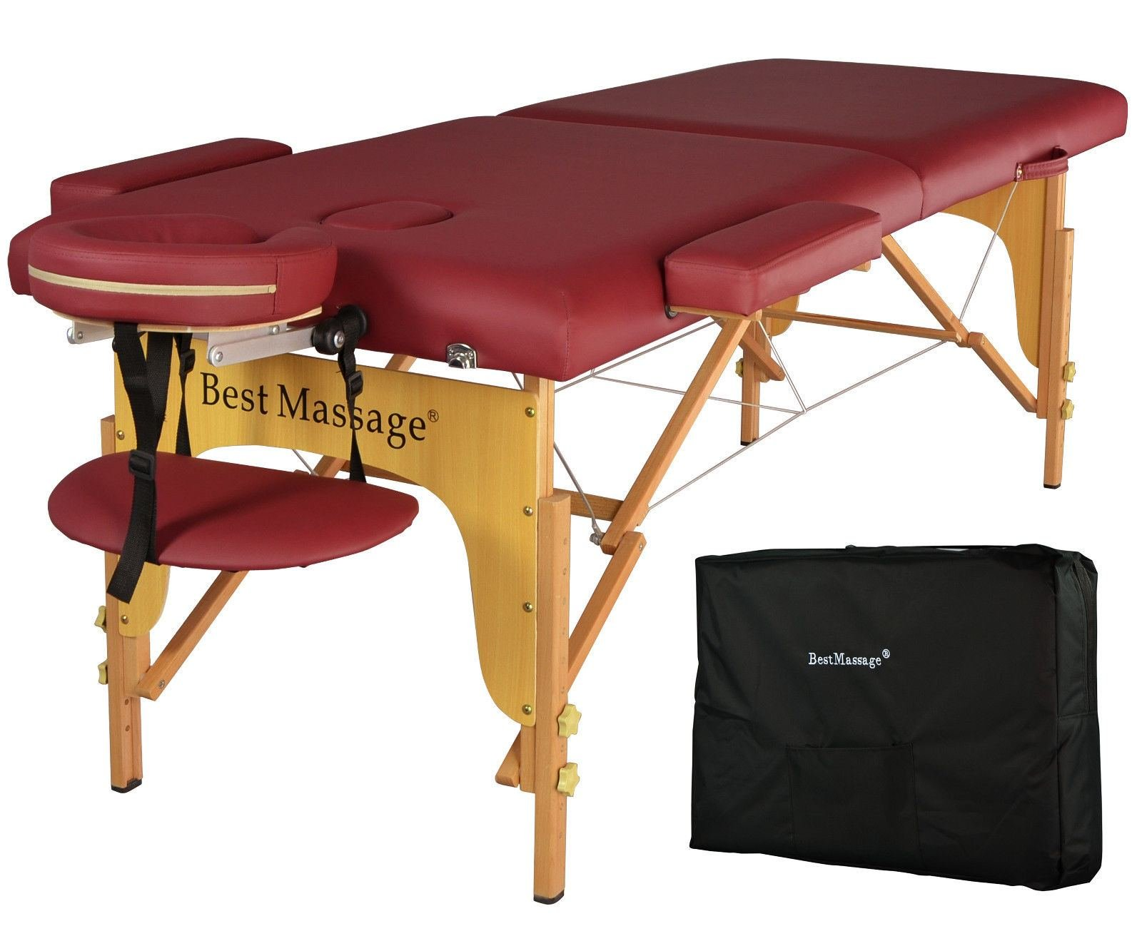 Burgundy PU Portable Massage Table w/Free Carry Case by Alitop