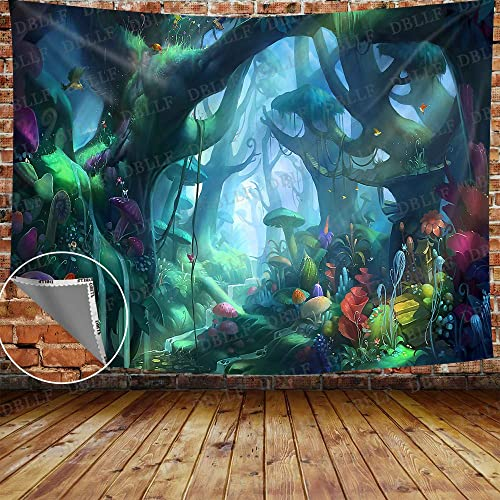 DBLLF Fantasy Fairy Tale Mushroom Tapestry Enchanted Forest Wonderland Photography Alice and Wonderland Backdrop Wall Hanging Children Kids Fancy Decor Backgrounds Studio 80X60 Inches DBZY1429