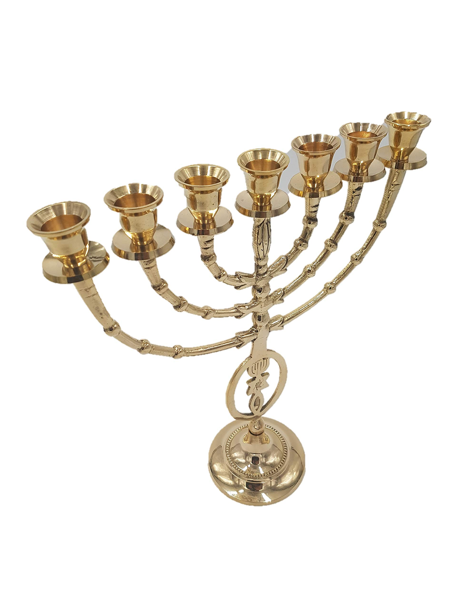 Yaliland Grafted in Messianic Brass Copper Vintage Menorah 12'' Judaica Israel 7 Candle Holder by Yaliland