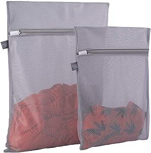 Kimmama Delicates Laundry Bags, Bra Fine Mesh Wash Bag for Underwear, Lingerie, Bra, Pantyhose, Sock, Shoe, Use Automatic Locking Zipper, Travel Organizer Net Bags (Grey, 1 Large + 1 Medium)
