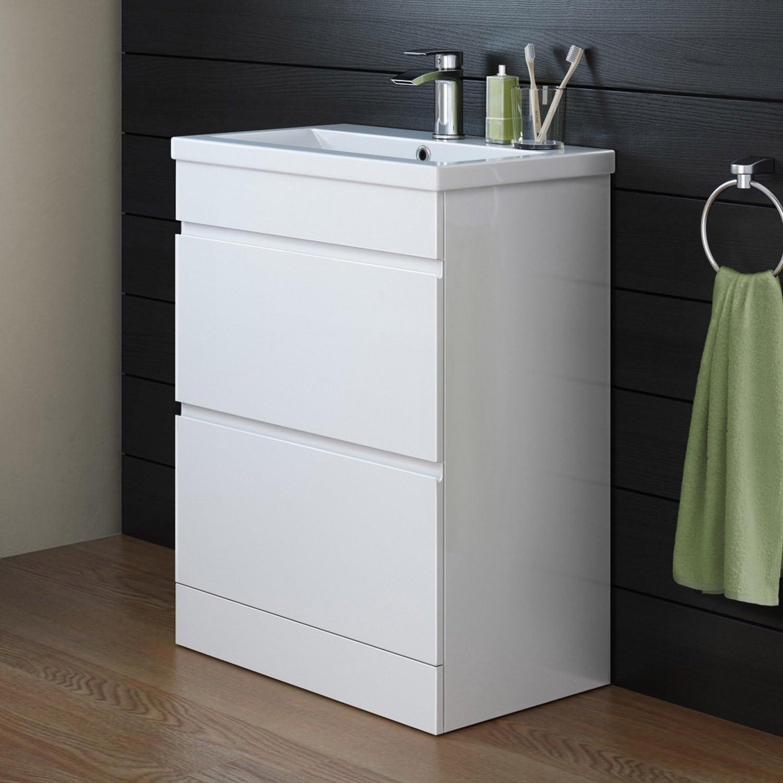 600 mm White Gloss Vanity Sink Unit Ceramic Basin Bathroom Drawers Furniture MV808