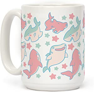 LookHUMAN Happy Shark Pattern White 15 Ounce Ceramic Coffee Mug