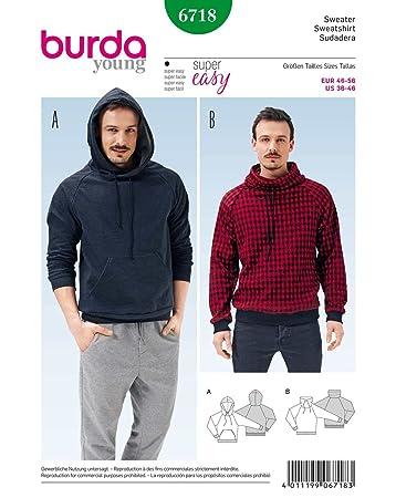 Burda 6718 Schnittmuster Sweater Hoody (Herren, Gr. 46 - 56) Level 1 ...