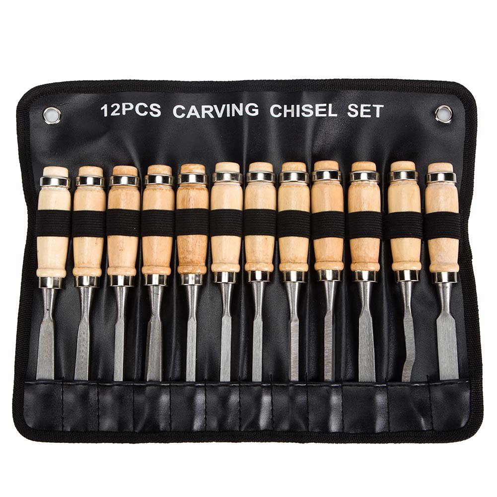 Wood Carving Chisel Set - 12 Piece Sharp Woodworking Tools Carrying Case - Great for Beginners by LAOPOMI