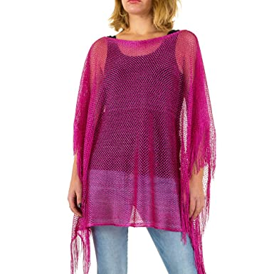 e881c4c13174 Schuhcity24 Damen Tunika Elegante Bluse Designer Hemd Fransen Netz Pink ONE  Size  Amazon.de  Bekleidung