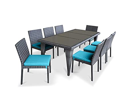 UrbanFurnishing.net 9piecedining Patio Furniture, 9 Piece Set Sea Blue