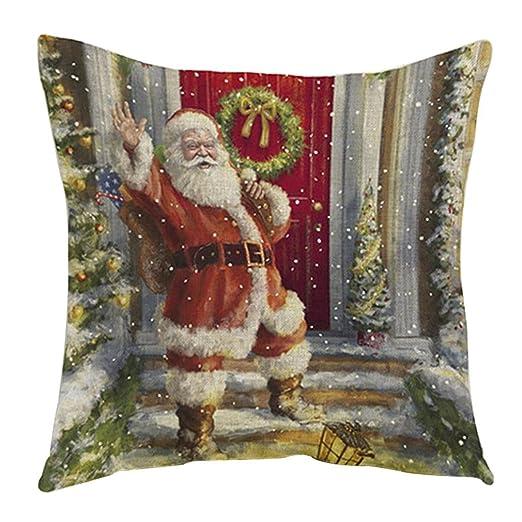 Xinantime Funda Cojines,Xinan Navidad Decoración Santa Claus Hogar Fundas Christmas (G)
