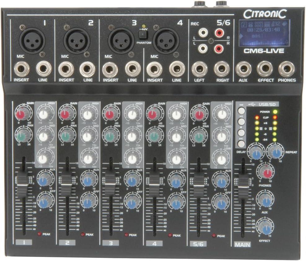 citronic CM6-LIVE 6チャンネルコンパクトミキサー、ディレイおよびUSB/SDプレーヤー