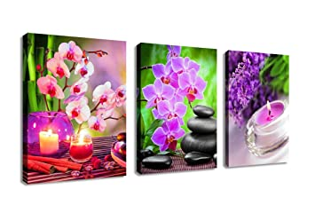 Amazon Com Zen Canvas Wall Art Spa Pictures Stone Green Bamboo Pink