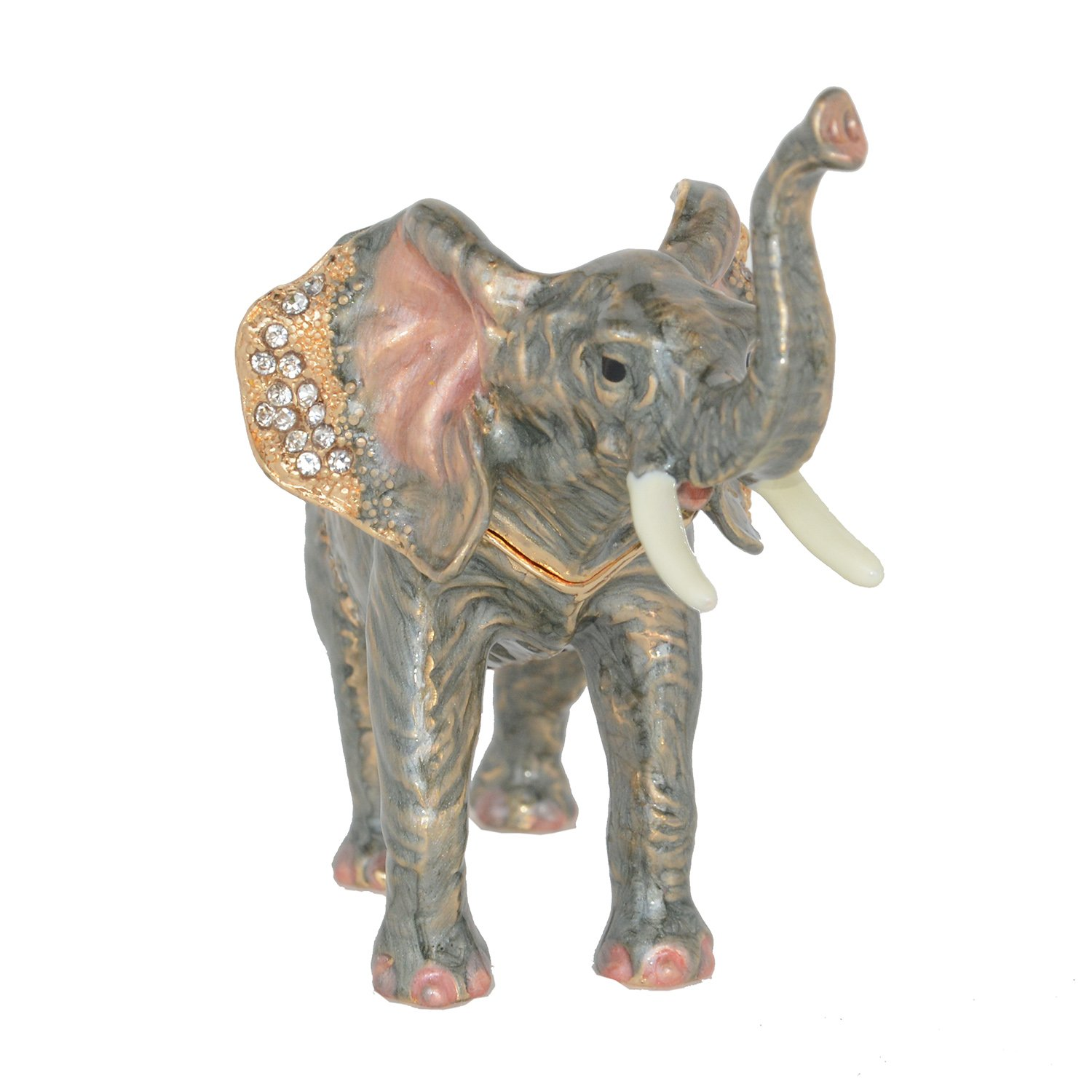 Minihouse Elephant Treasured Trinket Jewelry Ring Box Necklace Container Crystal Jeweled Collectible Gifts for Lovers (Grey) by Minihouse (Image #2)
